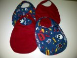 Toddler size bibs, waterproof inner layer