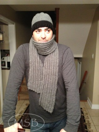 Men's ribbed scarf and matching hat