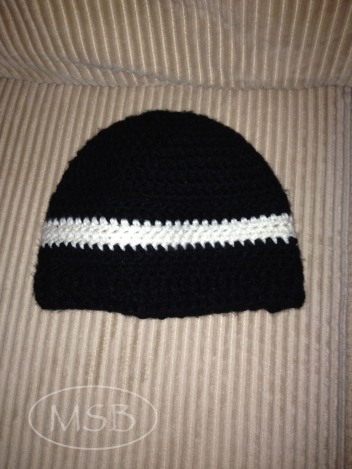 Black beanie with white stripe